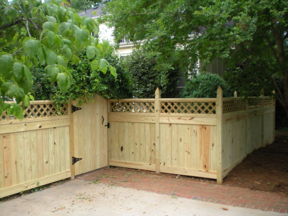 Custom Wood Fence with Lattice Top