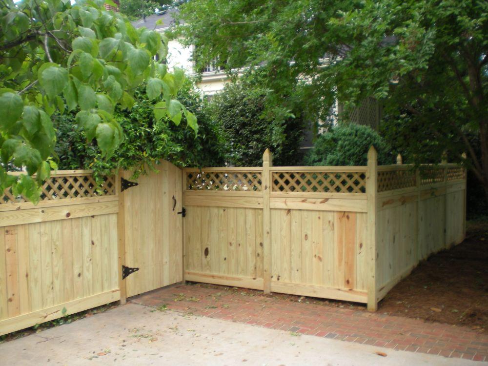 Custom Wood Fence with Lattice Top